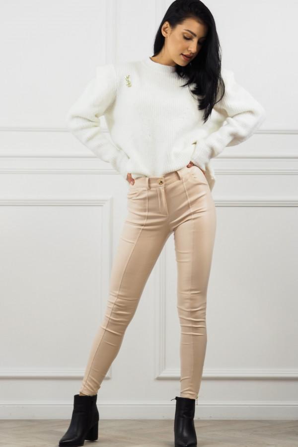 woskowane beżowe spodnie z wiązaniem 6