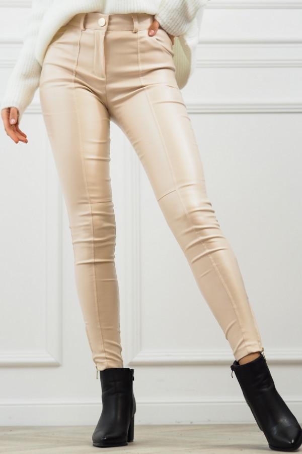 woskowane beżowe spodnie z wiązaniem 7