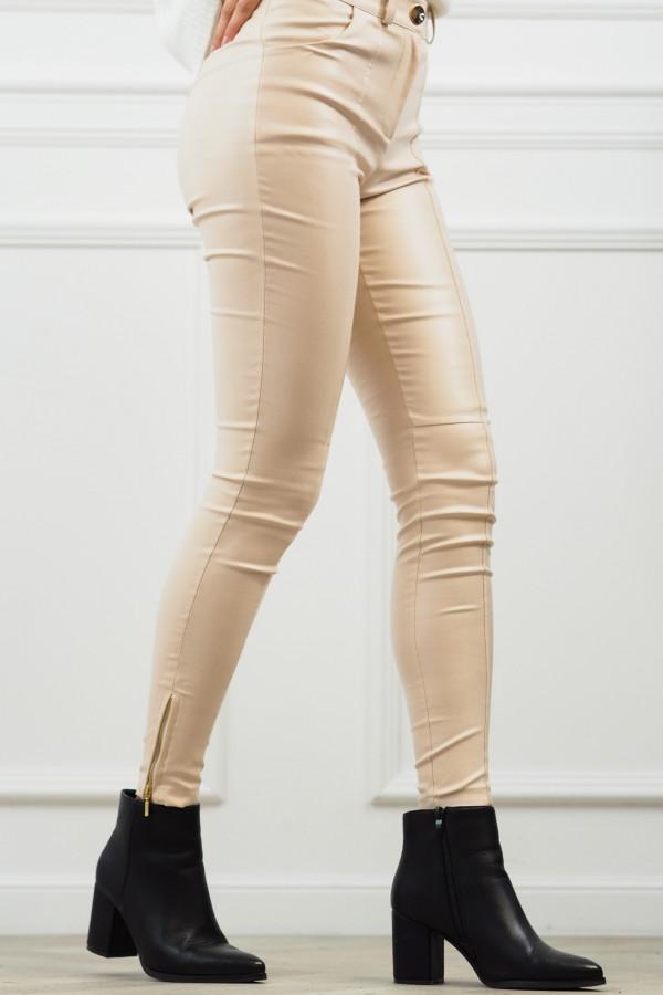 woskowane beżowe spodnie z wiązaniem 8