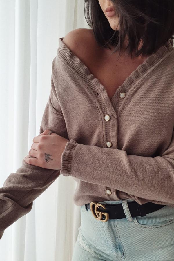 Brązowy sweter z falbankami Marina