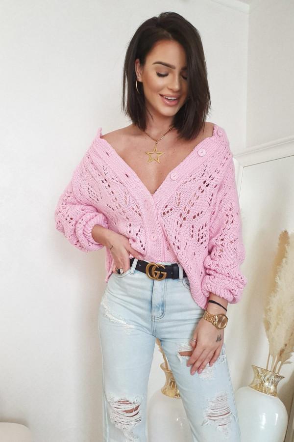 Sweter różowy z guzikami Giuditta