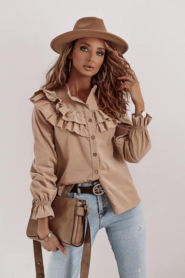 Bluzka brązowa z falbankami Silvia