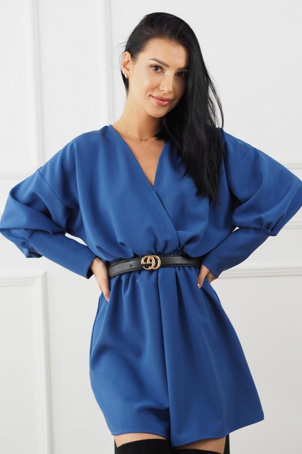 Sukienka niebieska z paskiem Eva 1