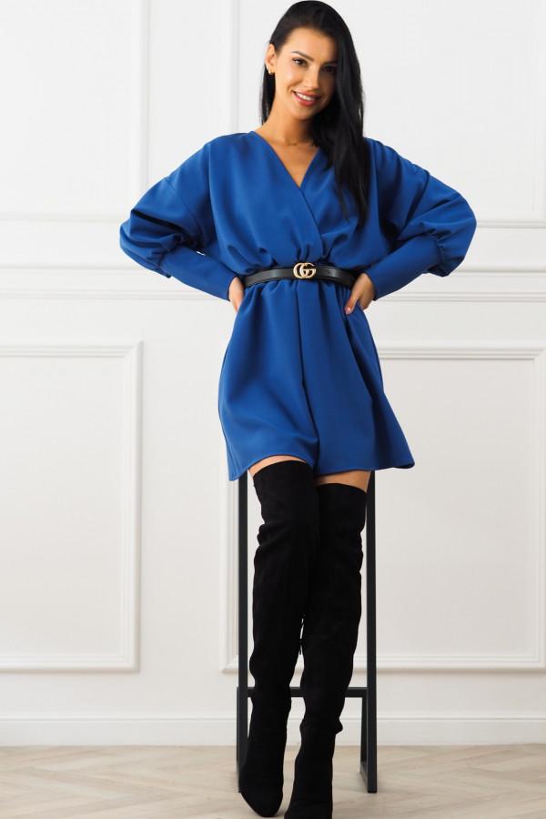 Sukienka niebieska z paskiem Eva 4