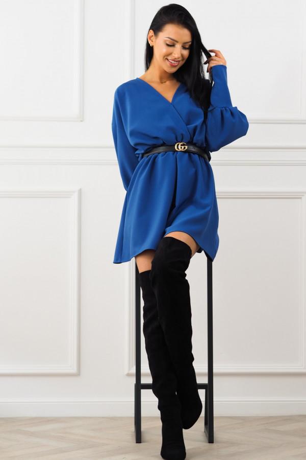 Sukienka niebieska z paskiem Eva 5