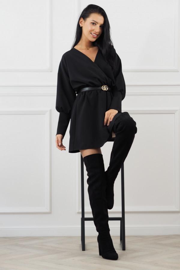 Sukienka czarna z paskiem Eva