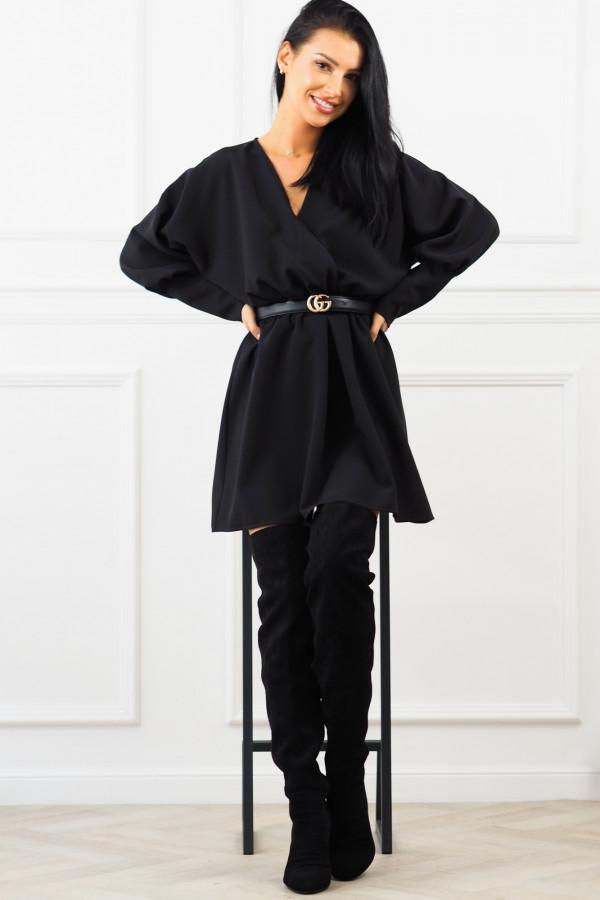 Sukienka czarna z paskiem Eva 4