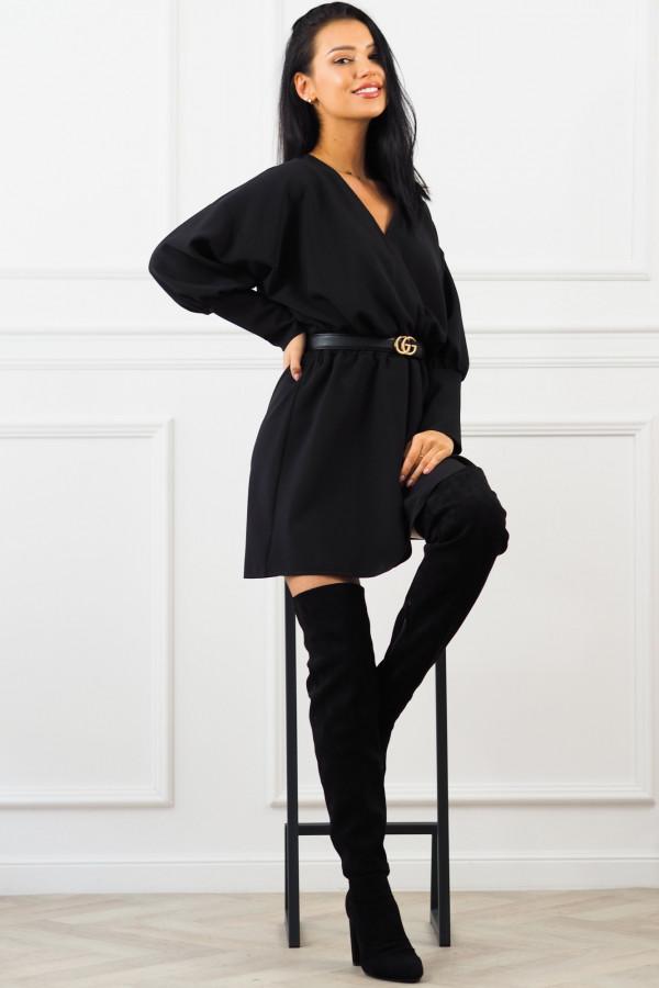Sukienka czarna z paskiem Eva 5