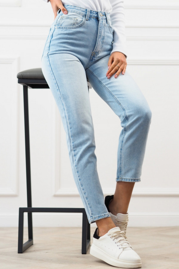 SPODNIE MOM FIT JEANS BLUE