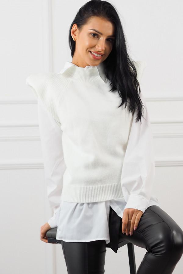 Biały bezrękawnik z białą koszulą Lucia