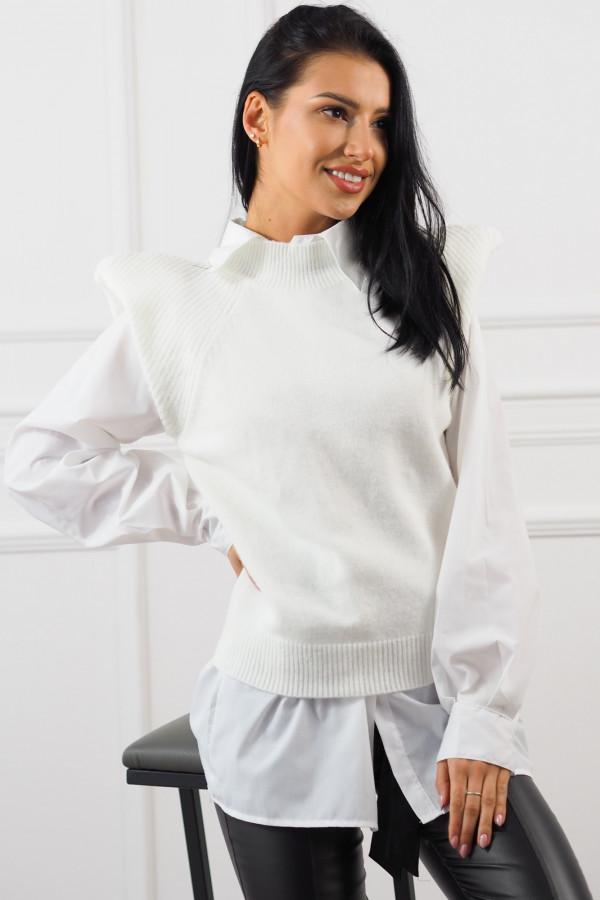 Biały bezrękawnik z białą koszulą Lucia 3