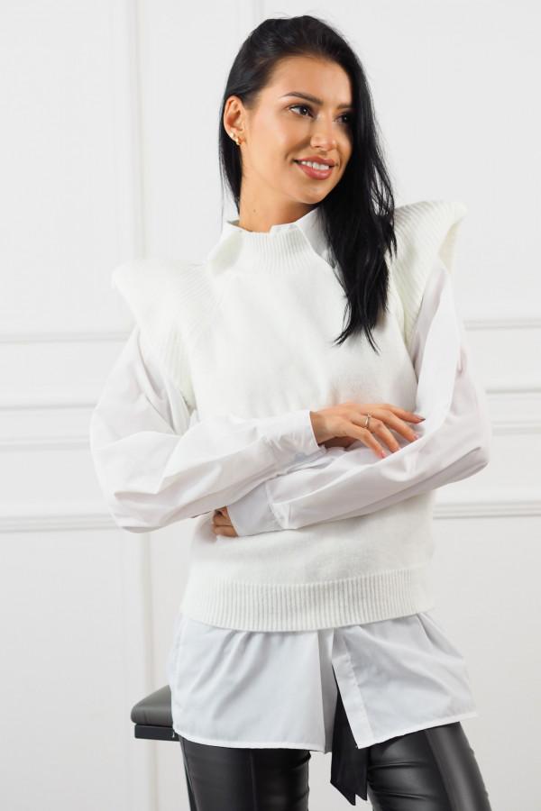 Biały bezrękawnik z białą koszulą Lucia 4