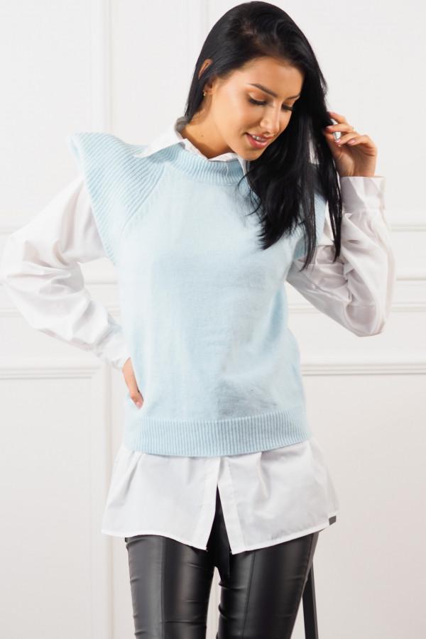 Niebieski bezrękawnik z białą koszulą Lucia
