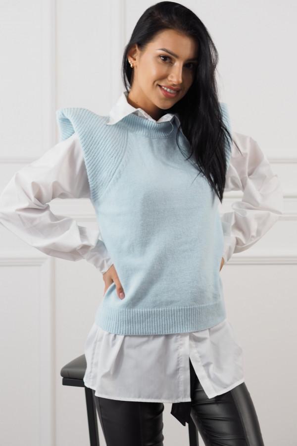 Niebieski bezrękawnik z białą koszulą Lucia 1