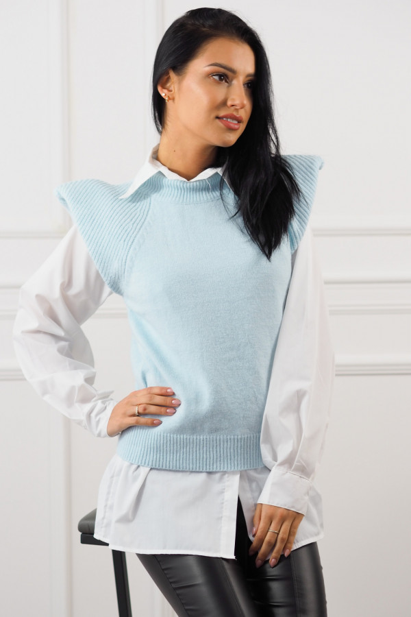 Niebieski bezrękawnik z białą koszulą Lucia 2