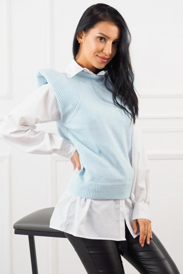 Niebieski bezrękawnik z białą koszulą Lucia 3