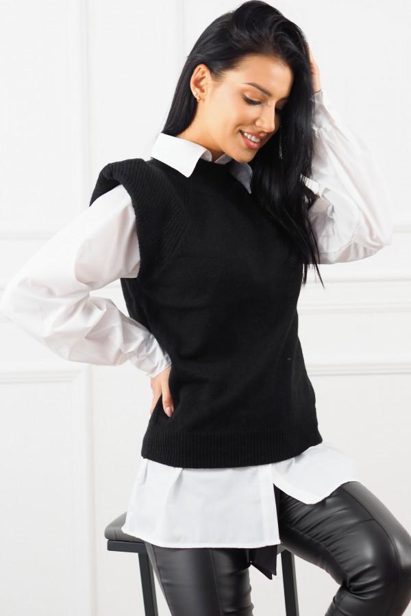 Czarny bezrękawnik z białą koszulą Lucia 2