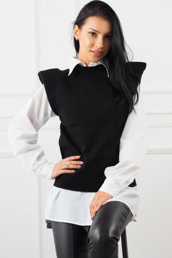 Czarny bezrękawnik z białą koszulą Lucia 3