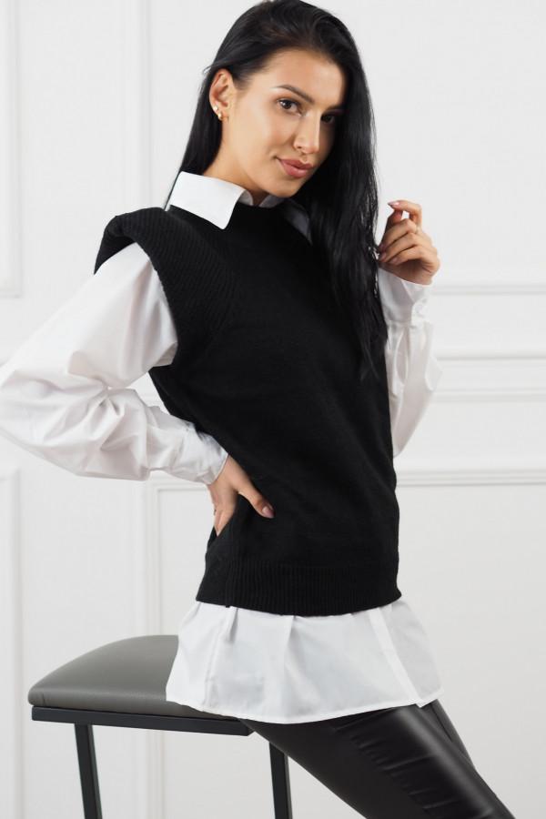 Czarny bezrękawnik z białą koszulą Lucia 4