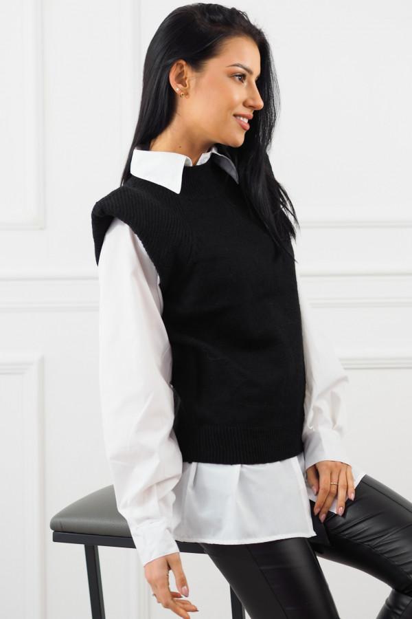 Czarny bezrękawnik z białą koszulą Lucia 5