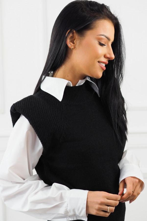 Czarny bezrękawnik z białą koszulą Lucia 6