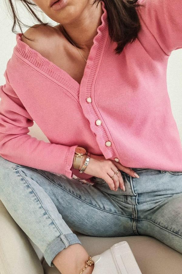 Różowy sweter z falbankami Marina