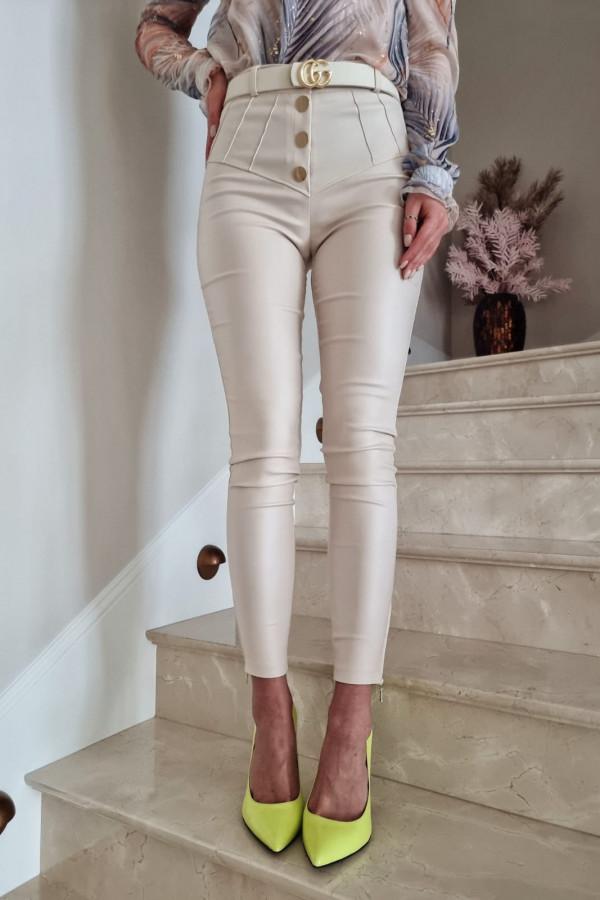 Woskowane spodnie z guzikami Ecru 1