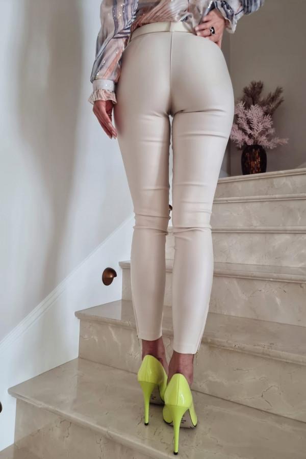 Woskowane spodnie z guzikami Ecru 2