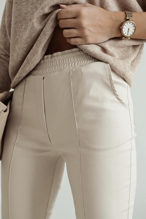 Beżowe spodnie z gumką w pasie Nadia 1