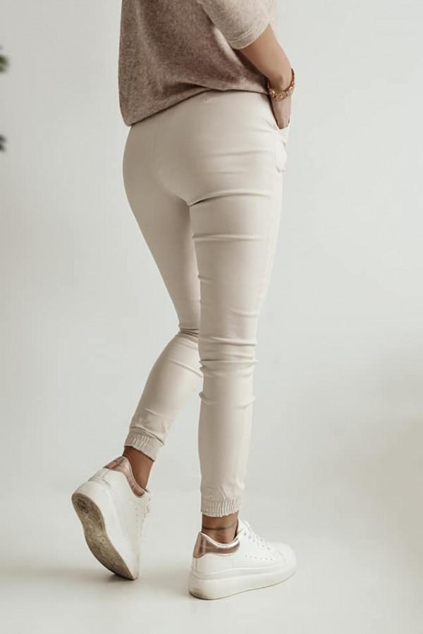 Beżowe spodnie z gumką w pasie Nadia 2