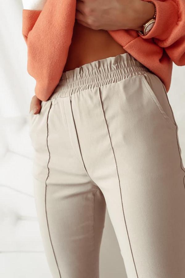 Beżowe spodnie z gumką w pasie Nadia 3