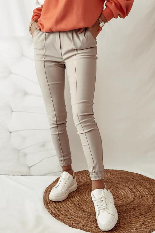 Beżowe spodnie z gumką w pasie Nadia 4