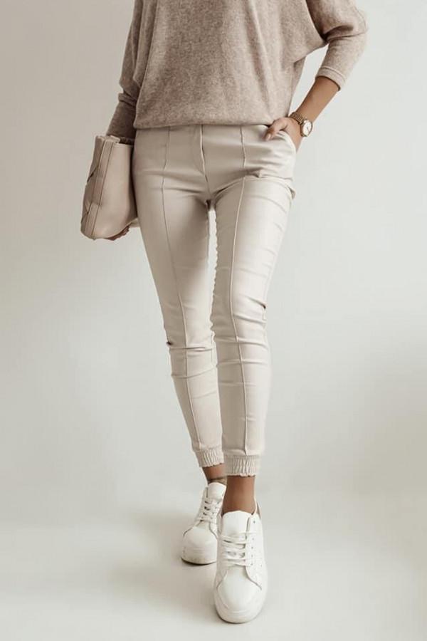 Beżowe spodnie z gumką w pasie Nadia 5