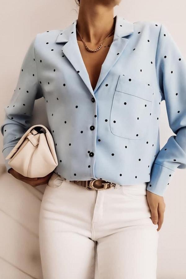 Niebieska koszula w czarne kropki Alina