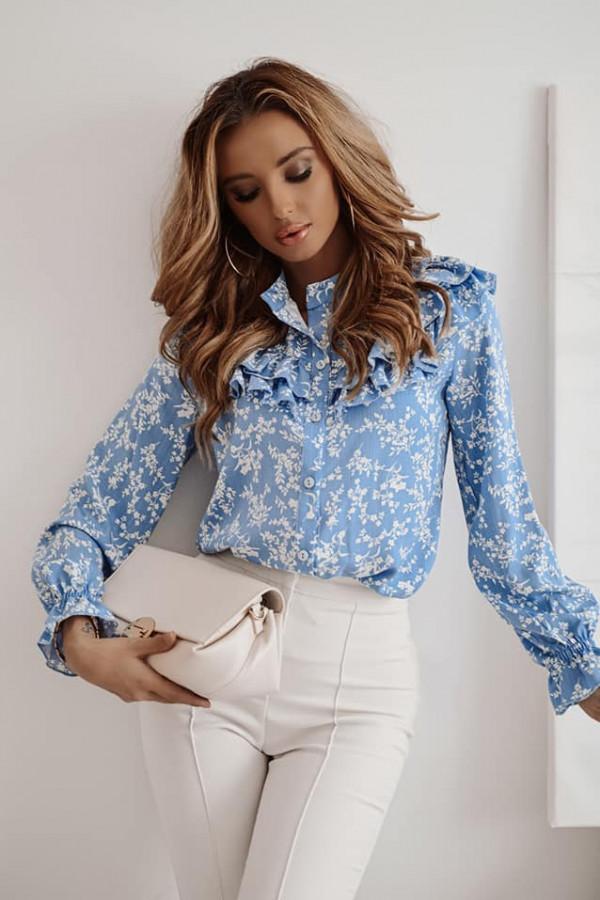 Bluzka niebieska ze wzorkami Silvia