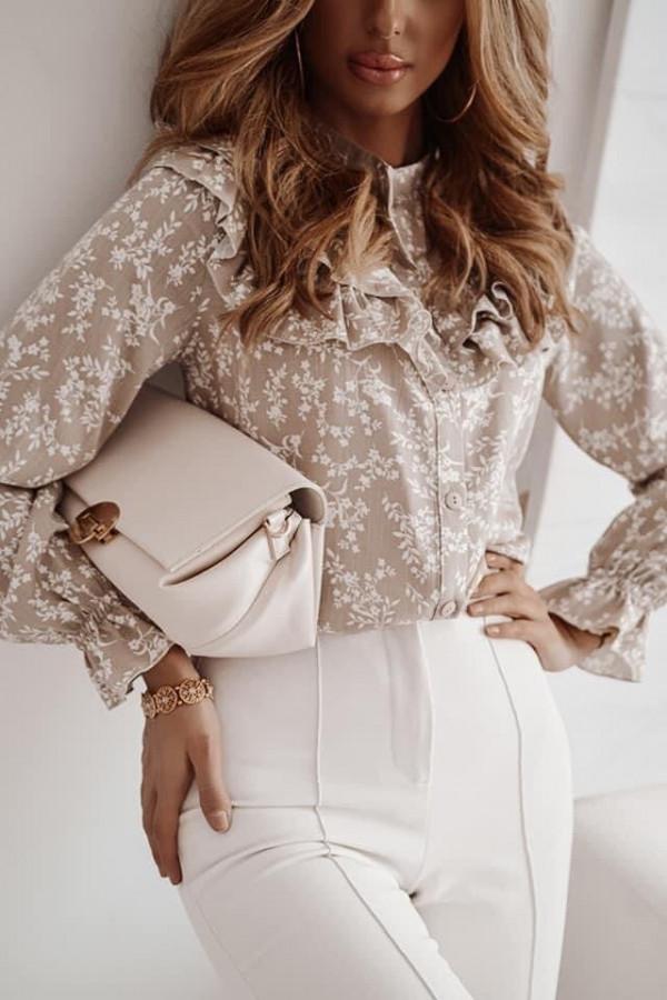 Bluzka brązowa ze wzorkami Silvia
