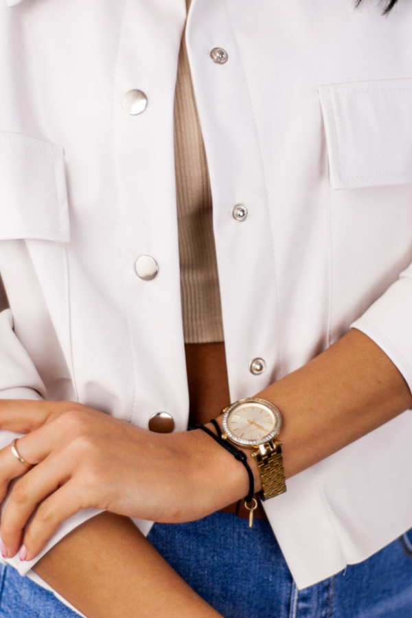 Koszula skórzana z guzikami biała Domenica 3