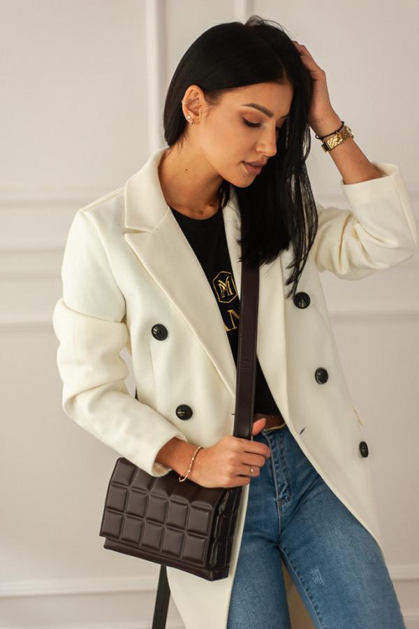 Płaszcz biały z guzikami Rosalia