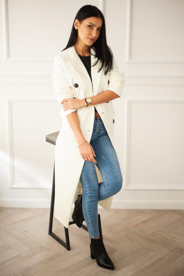 Płaszcz biały z guzikami Rosalia 4
