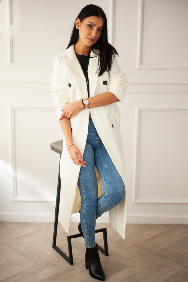 Płaszcz biały z guzikami Rosalia 5