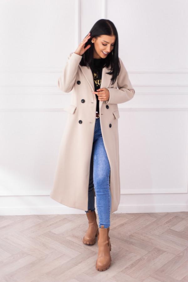 Płaszcz beżowy z guzikami Rosalia 1