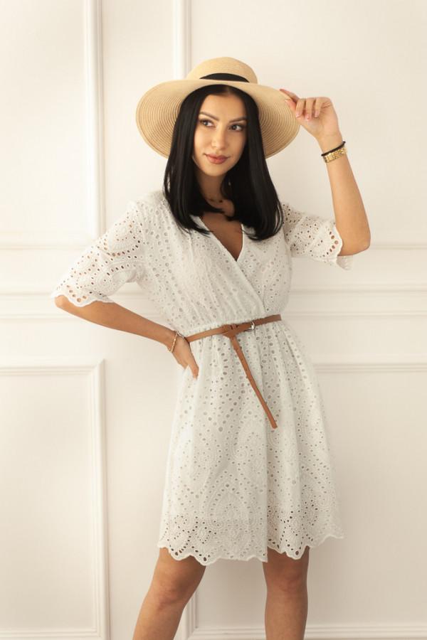 Ażurowa biała sukienka Costanza
