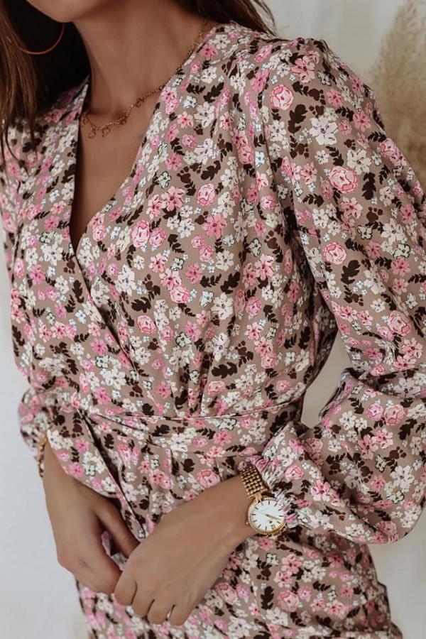 Sukienka beżowa w kwiatki Donna