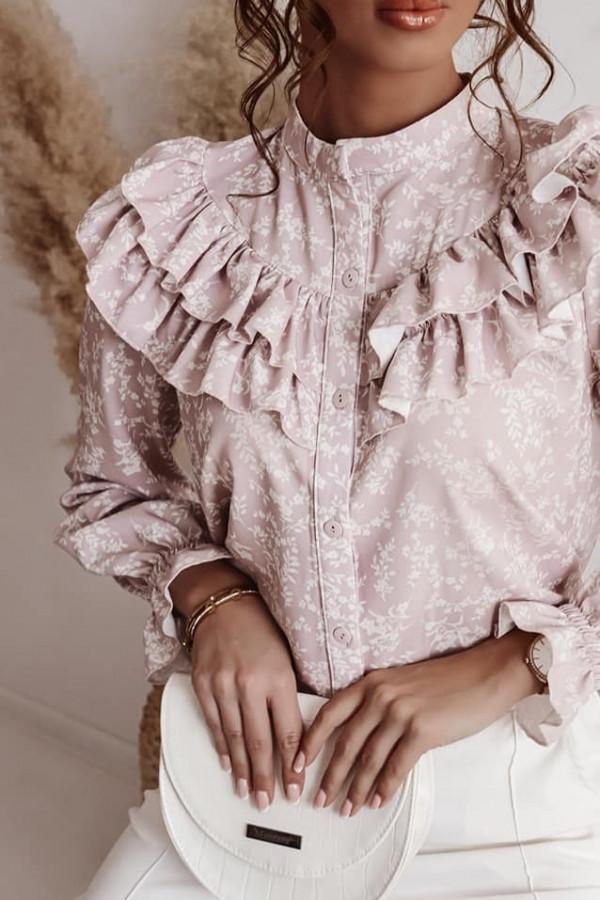 Bluzka różowa w wzorki z falbankami Silvia 1