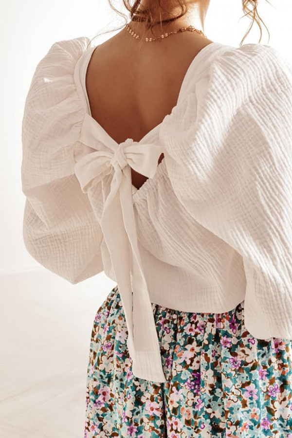 Biała bluzka z kokardką Lana 3