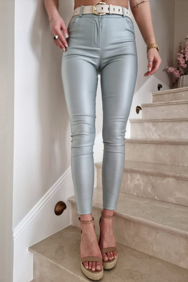 Spodnie woskowane seledynowe 1