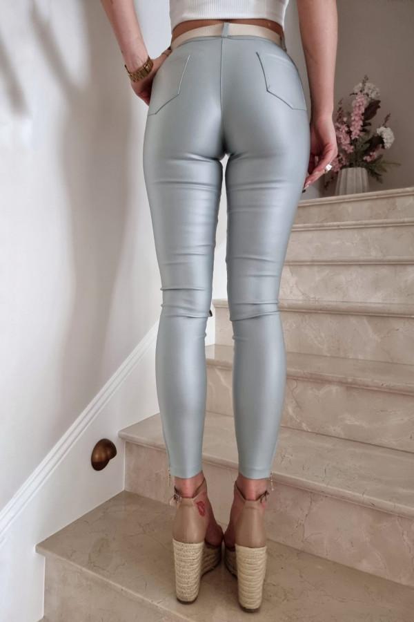 Spodnie woskowane seledynowe 2