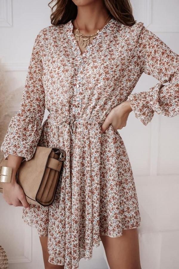 Sukienka beżowa w kwiaty Eva 1