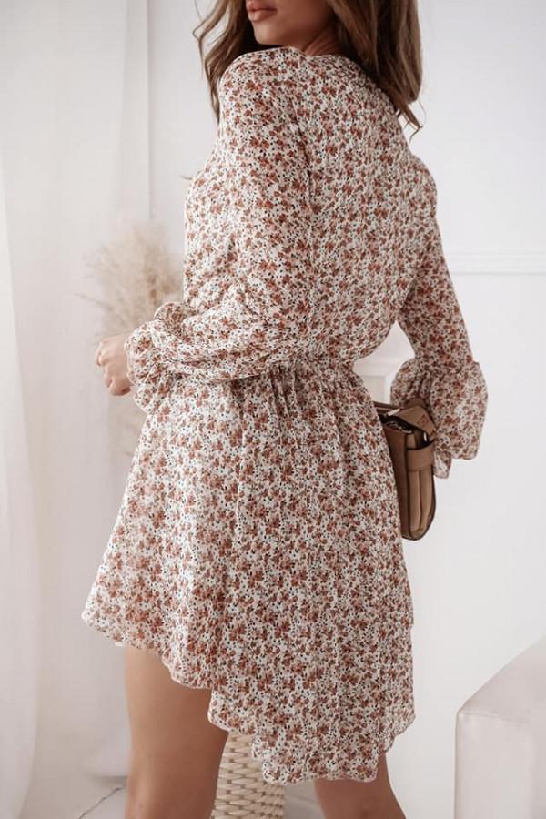 Sukienka beżowa w kwiaty Eva 2