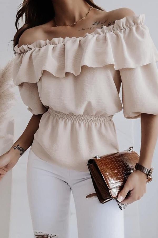 Bluzka beżowa z falbankami Lora
